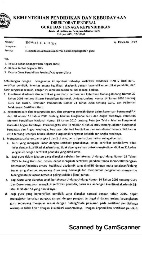 Surat Linierisasi 1